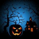 Halloween night poster with haunted castle and grinning pumpkin Stock Photo