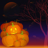 Halloween night poster with heap of pumpkins. Halloween night poster with pumpkins, Jack O'Lantern, Moon, tree and bats and copy space Royalty Free Stock Photography