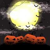 Halloween night with pumpkin and bats on full moon vector illustration background Royalty Free Stock Image