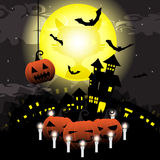 Halloween night with pumpkin,castle and bats on full moon vector illustration background Royalty Free Stock Images