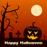 Halloween Night - Pumpkin and Cemetery Stock Photo