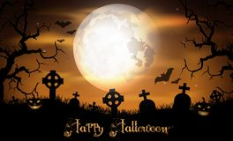 Halloween night with pumpkin on the graveyard Royalty Free Stock Photography