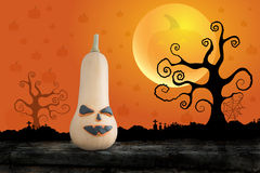 Halloween night  with pumpkin on the moon background Stock Images
