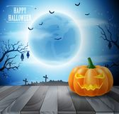 Halloween night with pumpkins. On blue background. illustration Stock Image