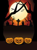 Halloween Night Pumpkins Cemetery Royalty Free Stock Photos