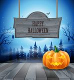 Halloween night with pumpkins. On blue background. illustration Stock Photos