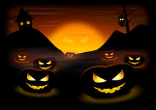 Halloween Night Pumpkins Stock Photography
