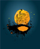 Halloween night: pumpkins silhouette on moon and sky background. Royalty Free Stock Image