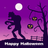 Halloween Night - Pumpkins and Zombie Royalty Free Stock Photo
