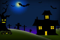 Halloween night on radial background Royalty Free Stock Photo