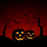 Halloween night red backdrop with pumpkins Royalty Free Stock Photography