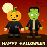 Halloween Night - Scarecrow & Frankenstein. Happy Halloween night card with a cute scarecrow with a pumpkin head, Frankenstein, full moon and bats flying on a stock illustration