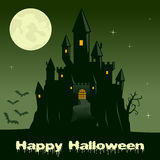 Halloween Night with Scary Ghost Castle Royalty Free Stock Photo