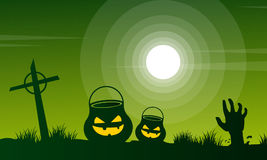 Halloween at night scary landscape Stock Photos
