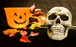 Halloween night with scary skull. Celebrating Halloween night with scary skull and pumpkin basket stock photography