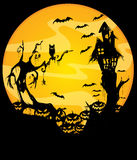 Halloween night scene. Vector illustration of scary halloween night scene Royalty Free Stock Images
