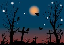 Halloween night scene. A vector illustration Stock Photos