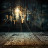 Halloween night scene with abstract crucifix Royalty Free Stock Photos