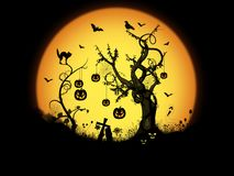Halloween night scene background Royalty Free Stock Image