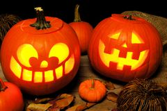 Halloween night scene with Jack o Lanterns Royalty Free Stock Images