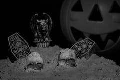 Halloween Night Scene. With Jack O Lanterns, tombstones, skulls and gargoyles stock image