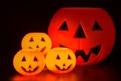 Halloween Night Scene. With Jack O Lanterns, tombstones, skulls and gargoyles royalty free stock photography