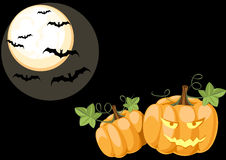 Halloween night scene with pumpkins. And bats Stock Photo