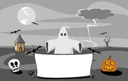 Halloween night scene. With spooky church ghost space for your message illustration Royalty Free Stock Photography