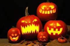 Halloween night scene with spooky Halloween Jack o Lanterns Royalty Free Stock Photos