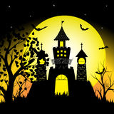 Halloween night with silhouette castle and bats on full moon vector illustration background Stock Photography