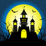 Halloween night with silhouette castle and bats on full moon vector illustration background Royalty Free Stock Images