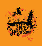Halloween night: silhouette of witch and cat flying on broom to Stock Images