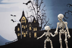 Halloween night skeletons Stock Images
