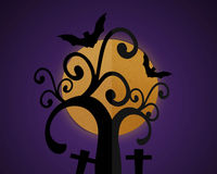 Halloween night sky background, Full moon and Shadow tree. Stock Photography