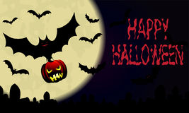 Halloween.Night sky with moon and bat with pumpkin. Royalty Free Stock Photo