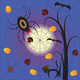 Halloween night with spider devil Royalty Free Stock Photos