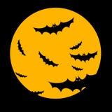 Halloween. Night spooky silhouette glowing dark horror bat Royalty Free Stock Photos