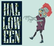 Halloween Night Spooky Zombie Vector Illustration Royalty Free Stock Images