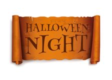 Halloween night - text on scroll greeting ribbon royalty free illustration