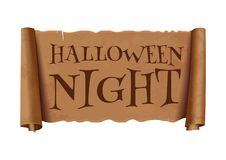 Halloween night - text on scroll greeting ribbon vector illustration