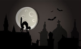 Halloween night in town vector. Illustration of Halloween night in the town: demonic cat on the roofs and flying bats + vector eps file stock illustration
