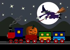 Halloween night. Train with Halloween pumpkins and a witch on a broomstick royalty free illustration