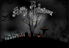 Halloween night with tree pumpkins and bats on graveyard Royalty Free Stock Image