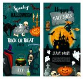 Halloween night trick or treat party poster design. Halloween night spooky party and trick or treat holiday invitation template. Halloween pumpkin, horror ghost vector illustration