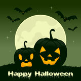 Halloween Night - Two Pumpkins and Bats. Happy Halloween night card with two pumpkins and bats flying on a green sky background. Eps file available stock illustration