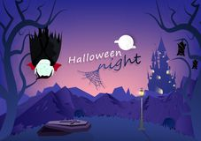 Halloween night, vampire and bats sleeping in graveyard, dark forest and mountain wasteland cartoon character, fantasy castle, royalty free illustration