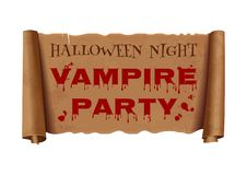 Halloween night. Vampire party. Text on scroll vector illustration