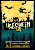 Halloween night vector. Halloween night with full moon. Vector illustration Stock Photos