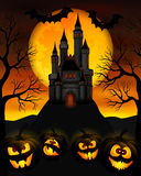 Halloween night. Vector illustration for Halloween with a castle on top of a mountain Stock Images