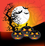 Halloween Night. Vector illustration of halloween pumpkins, bats and a tree on a night background Royalty Free Stock Photography